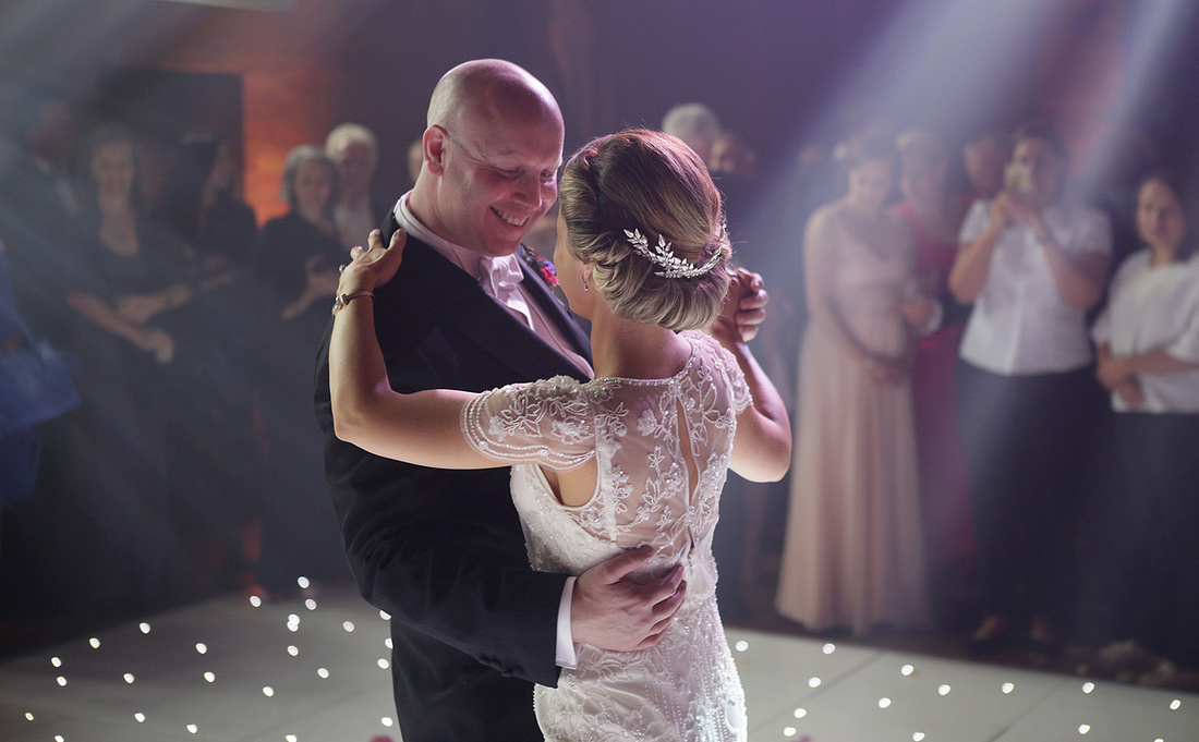 bride and grooms first dance at peckforton castle