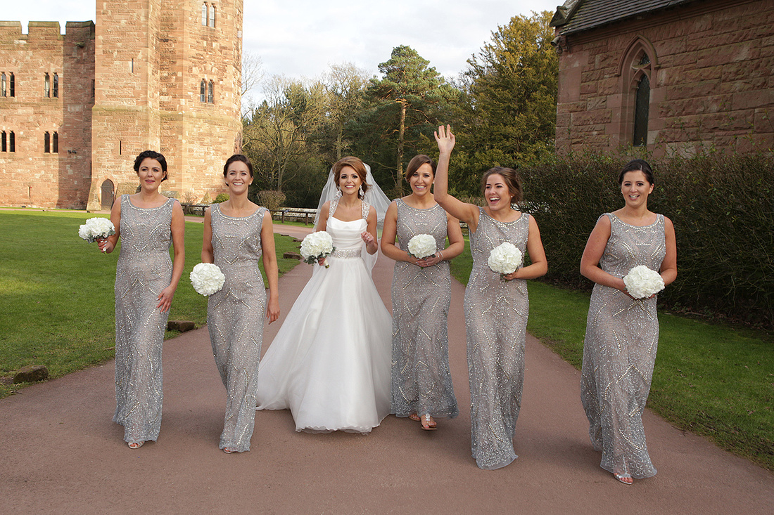 bride and grooms with their bridesmaids and ushers