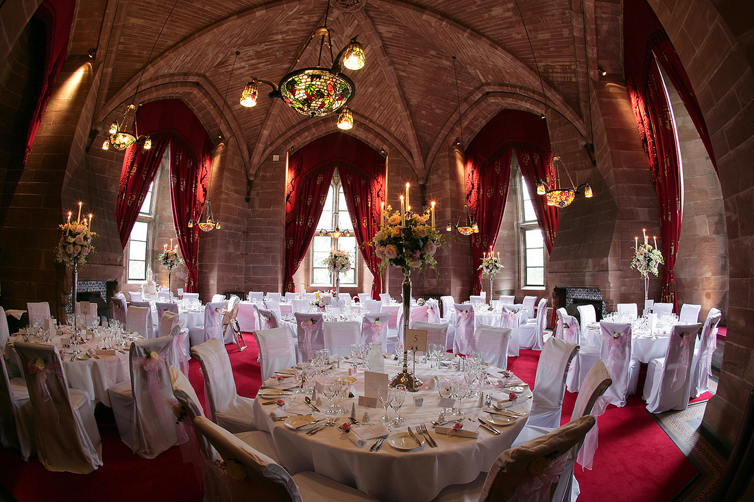 ceremony and wedding breakfast rooms at wedding venue dressed for a wedding