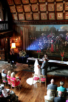 aerial view of wedding ceremony at adlington hall
